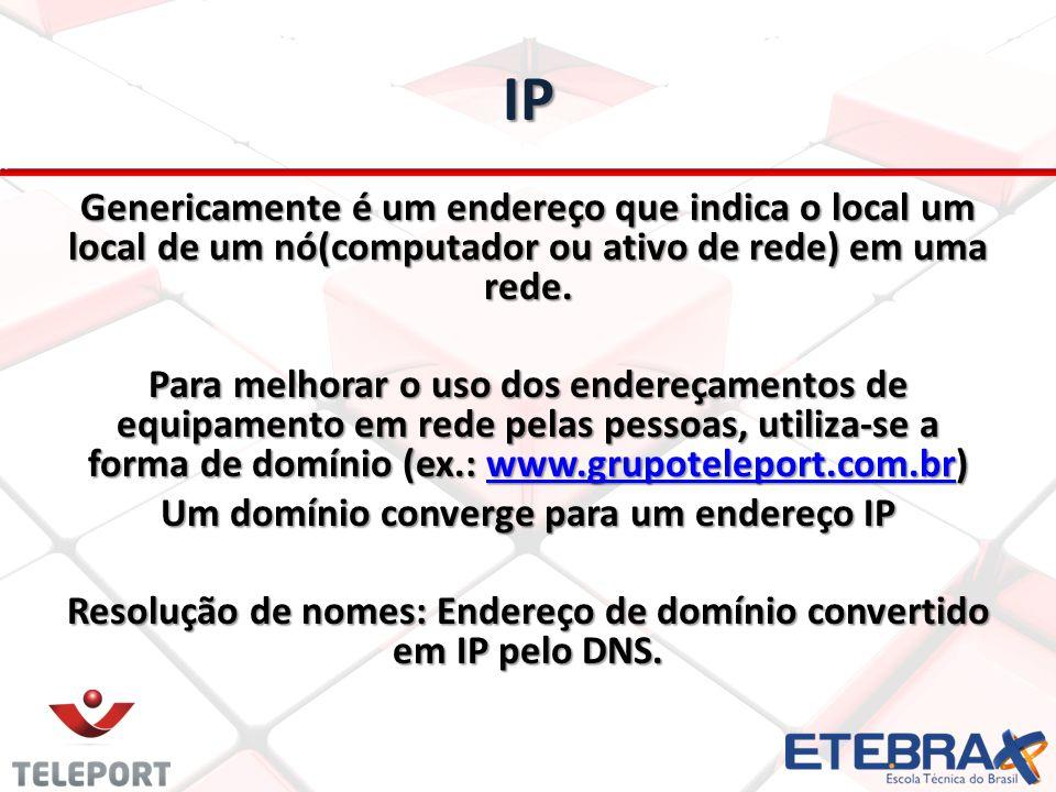 IP Genericamente é um endereço que indica o local um local de um nó(computador ou ativo de rede) em uma rede. Para melhorar o uso dos endereçamentos d