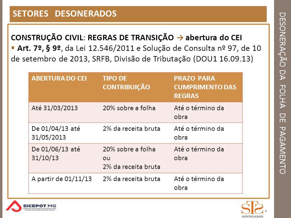 DESONERAÇÃO DA FOLHA DE PAGAMENTO SETORES DESONERADOS CONSTRUÇÃO CIVIL: REGRAS DE TRANSIÇÃO abertura do CEI Art. 7º, § 9º, da Lei 12.546/2011 e Soluçã