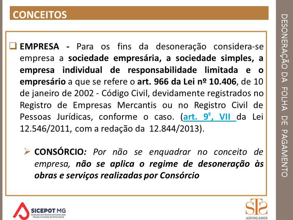 DESONERAÇÃO DA FOLHA DE PAGAMENTO CONCEITOS EMPRESA - Para os fins da desoneração considera-se empresa a sociedade empresária, a sociedade simples, a