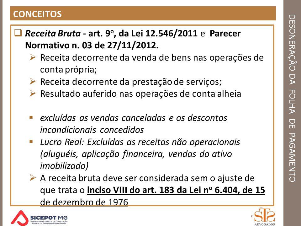 DESONERAÇÃO DA FOLHA DE PAGAMENTO CONCEITOS Receita Bruta - art. 9 o, da Lei 12.546/2011 e Parecer Normativo n. 03 de 27/11/2012. Receita decorrente d