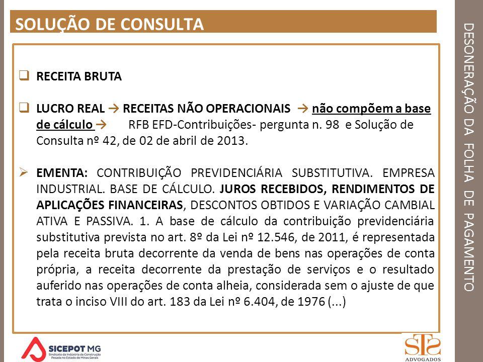 DESONERAÇÃO DA FOLHA DE PAGAMENTO SOLUÇÃO DE CONSULTA RECEITA BRUTA LUCRO REAL RECEITAS NÃO OPERACIONAIS não compõem a base de cálculo RFB EFD-Contrib