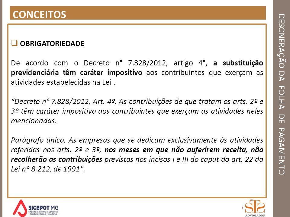 DESONERAÇÃO DA FOLHA DE PAGAMENTO CONCEITOS OBRIGATORIEDADE De acordo com o Decreto n° 7.828/2012, artigo 4°, a substituição previdenciária têm caráte