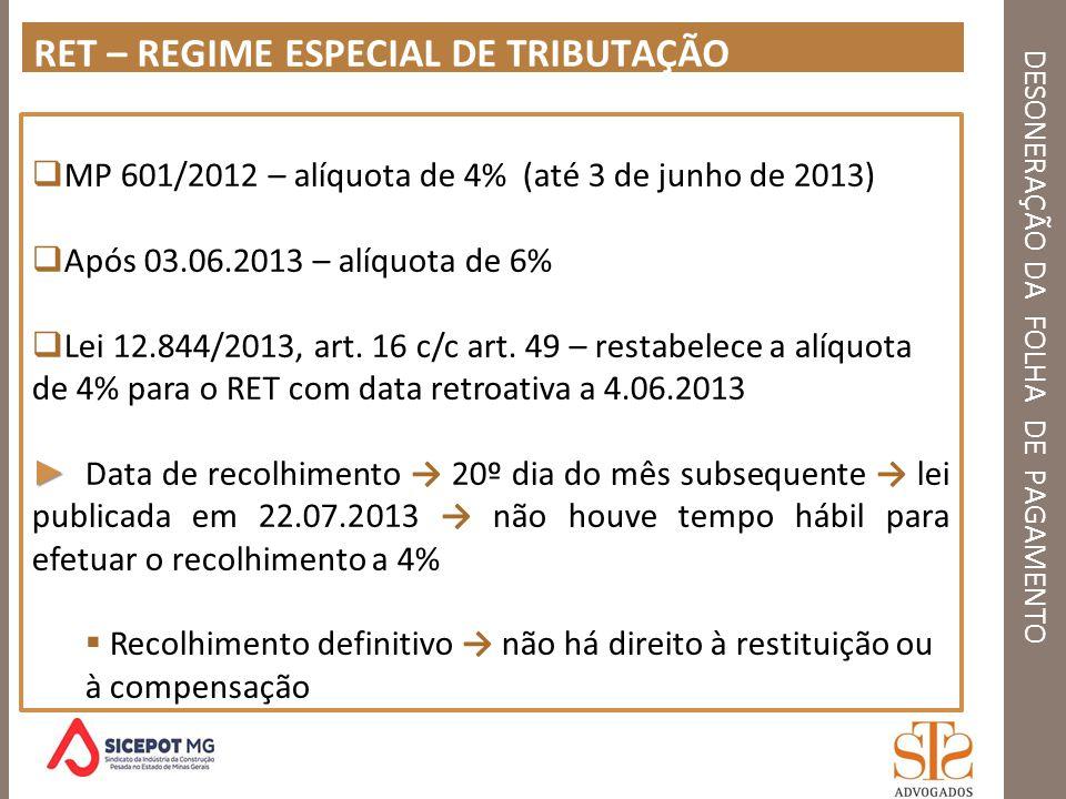 DESONERAÇÃO DA FOLHA DE PAGAMENTO RET – REGIME ESPECIAL DE TRIBUTAÇÃO MP 601/2012 – alíquota de 4% (até 3 de junho de 2013) Após 03.06.2013 – alíquota