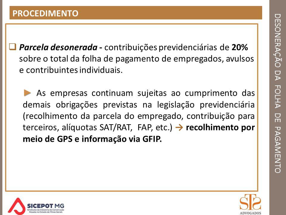 DESONERAÇÃO DA FOLHA DE PAGAMENTO PROCEDIMENTO Parcela desonerada - contribuições previdenciárias de 20% sobre o total da folha de pagamento de empreg