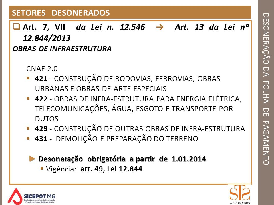 DESONERAÇÃO DA FOLHA DE PAGAMENTO SETORES DESONERADOS Art. 7, VII da Lei n. 12.546 Art. 13 da Lei nº 12.844/2013 OBRAS DE INFRAESTRUTURA CNAE 2.0 421