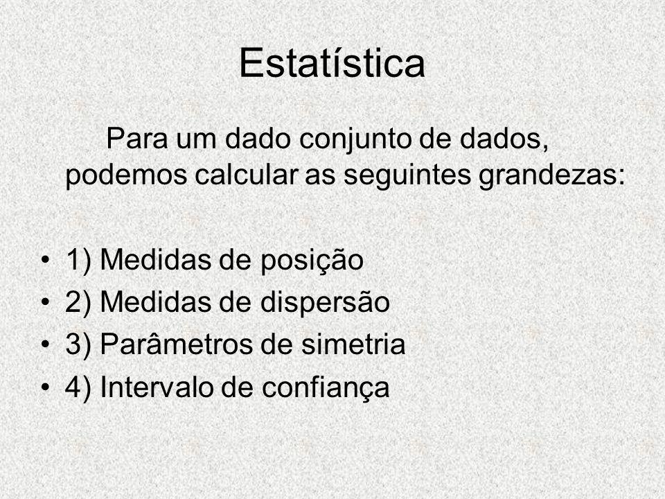 Estatística Para um dado conjunto de dados, podemos calcular as seguintes grandezas: 1) Medidas de posição 2) Medidas de dispersão 3) Parâmetros de si