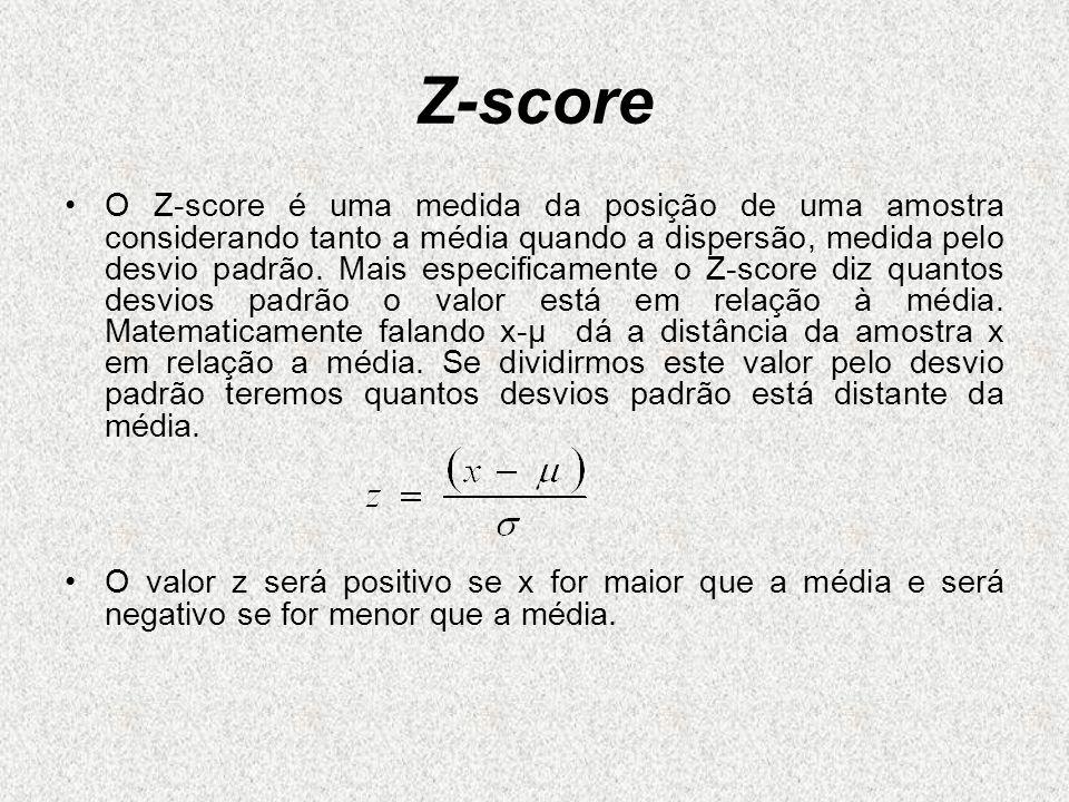 Z-score O Z-score é uma medida da posição de uma amostra considerando tanto a média quando a dispersão, medida pelo desvio padrão. Mais especificament