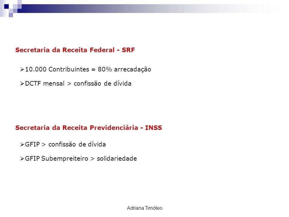 Secretaria da Receita Federal - SRF 10.000 Contribuintes = 80% arrecadação DCTF mensal > confissão de dívida ACOMPANHAMENTO Secretaria da Receita Prev