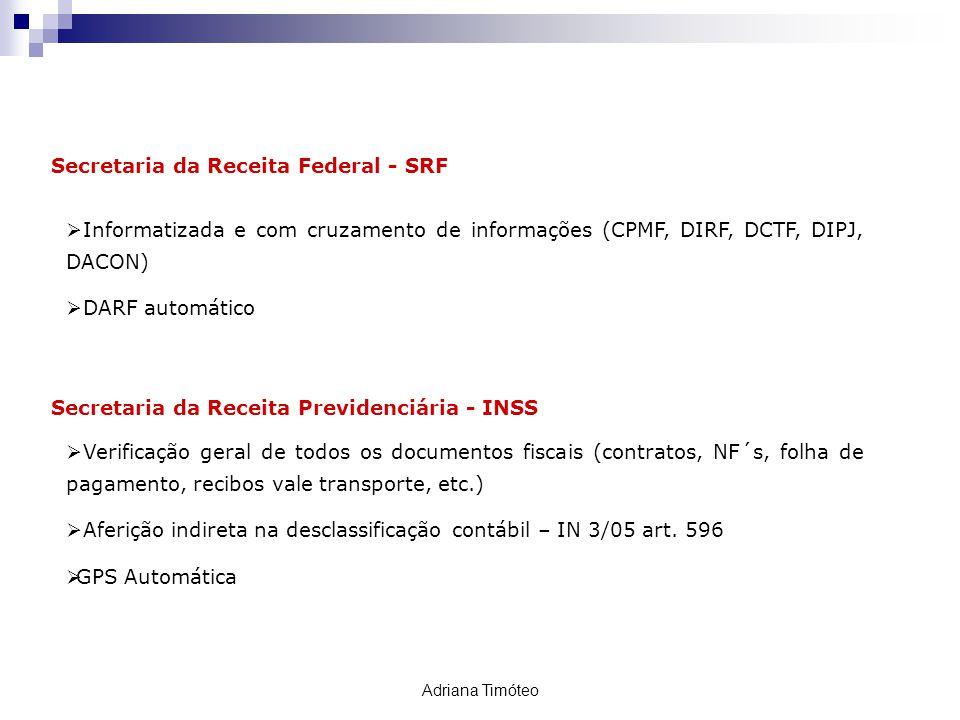 Secretaria da Receita Federal - SRF Informatizada e com cruzamento de informações (CPMF, DIRF, DCTF, DIPJ, DACON) DARF automático FISCALIZAÇÃO Secreta