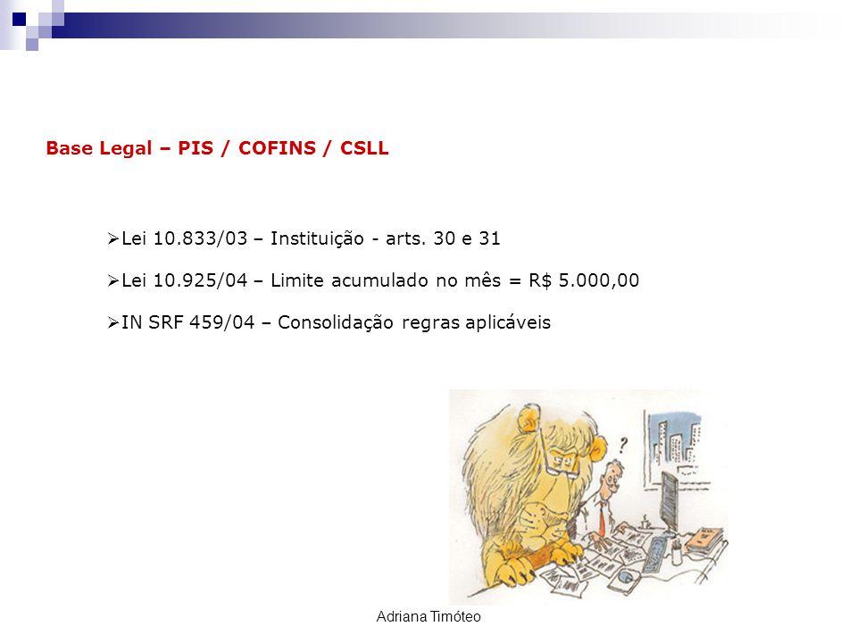 Retenção PIS / COFINS / CSLL Base Legal – PIS / COFINS / CSLL Lei 10.833/03 – Instituição - arts. 30 e 31 Lei 10.925/04 – Limite acumulado no mês = R$