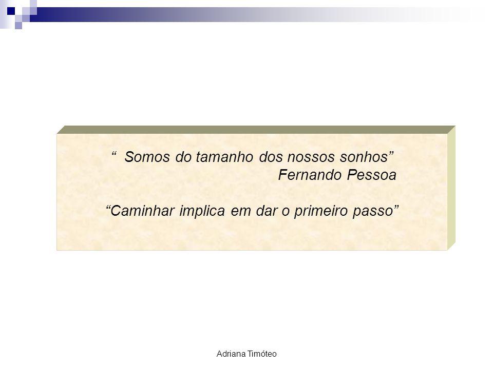 Somos do tamanho dos nossos sonhos Fernando Pessoa Caminhar implica em dar o primeiro passo Adriana Timóteo
