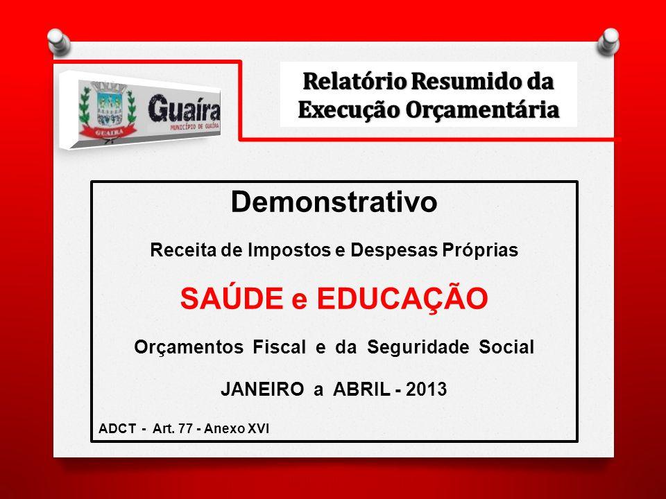 Demonstrativo Receita de Impostos e Despesas Próprias SAÚDE e EDUCAÇÃO Orçamentos Fiscal e da Seguridade Social JANEIRO a ABRIL - 2013 ADCT - Art.