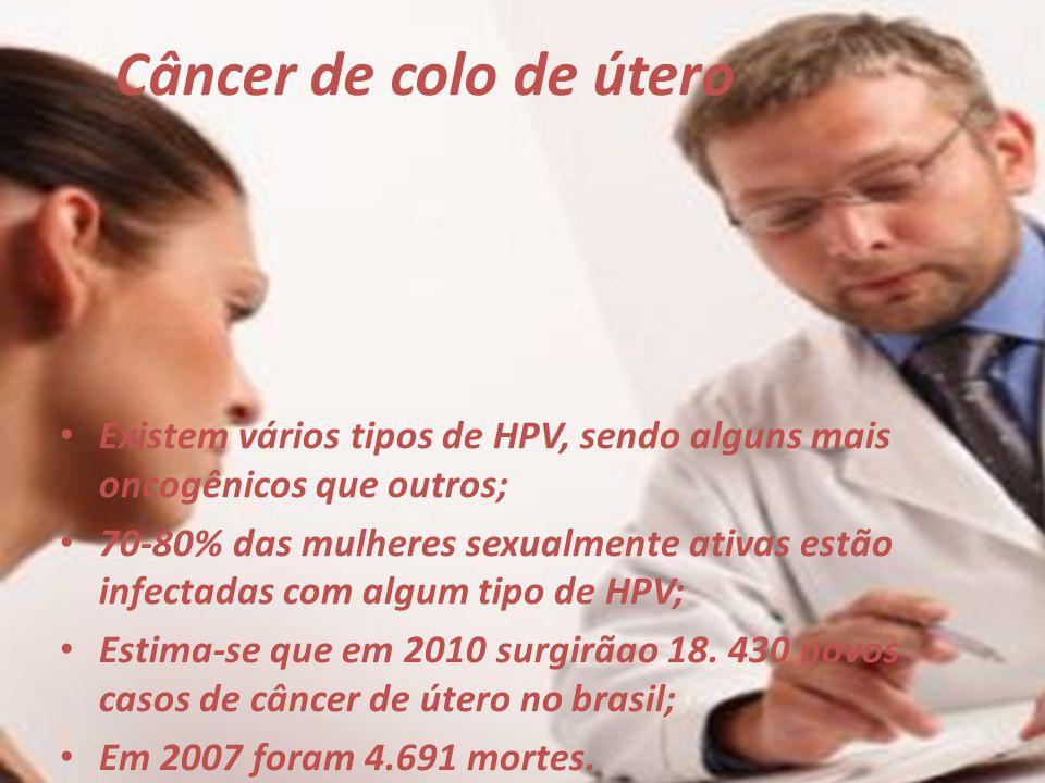 Câncer de colo de útero Existem vários tipos de HPV, sendo alguns mais oncogênicos que outros; 70-80% das mulheres sexualmente ativas estão infectadas
