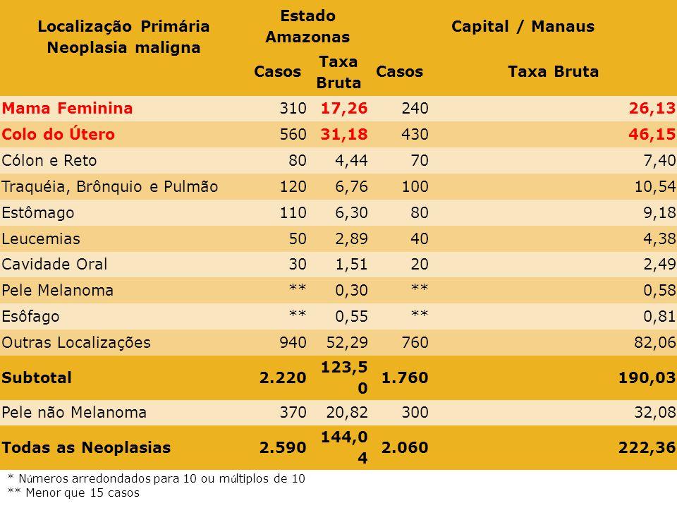 Localização Primária Neoplasia maligna Estimativa dos Casos Novos Estado Amazonas Capital / Manaus Casos Taxa Bruta CasosTaxa Bruta Mama Feminina31017