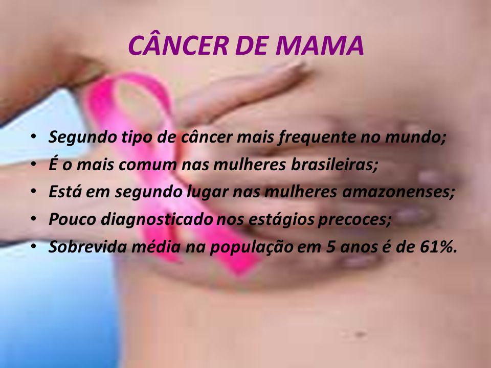 CÂNCER DE MAMA Segundo tipo de câncer mais frequente no mundo; É o mais comum nas mulheres brasileiras; Está em segundo lugar nas mulheres amazonenses