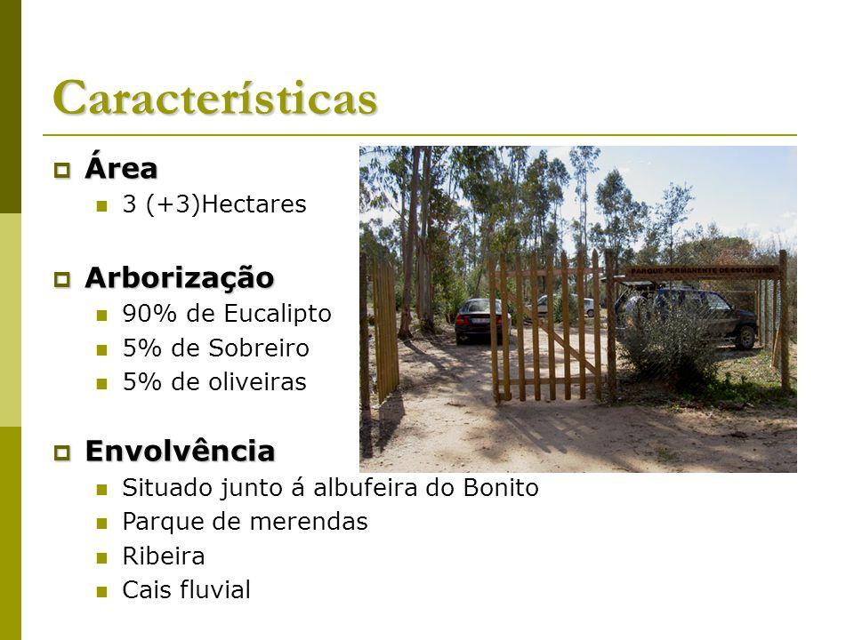 Características Área Área 3 (+3)Hectares Arborização Arborização 90% de Eucalipto 5% de Sobreiro 5% de oliveiras Envolvência Envolvência Situado junto