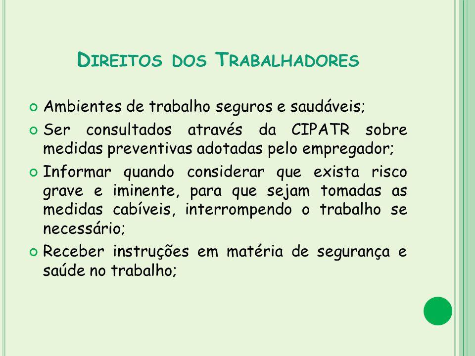 D IREITOS DOS T RABALHADORES Ambientes de trabalho seguros e saudáveis; Ser consultados através da CIPATR sobre medidas preventivas adotadas pelo empr