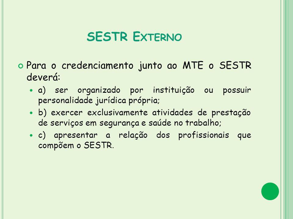 SESTR E XTERNO Para o credenciamento junto ao MTE o SESTR deverá: a) ser organizado por instituição ou possuir personalidade jurídica própria; b) exer