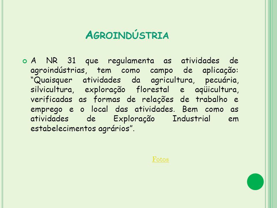A GROINDÚSTRIA A NR 31 que regulamenta as atividades de agroindústrias, tem como campo de aplicação: Quaisquer atividades da agricultura, pecuária, si