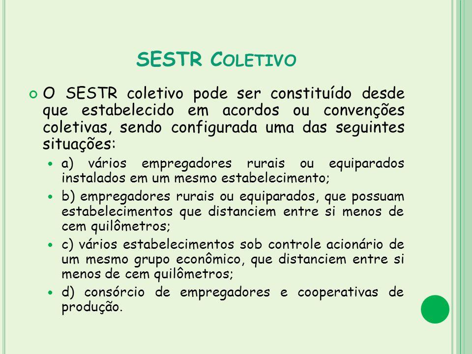 SESTR C OLETIVO O SESTR coletivo pode ser constituído desde que estabelecido em acordos ou convenções coletivas, sendo configurada uma das seguintes s