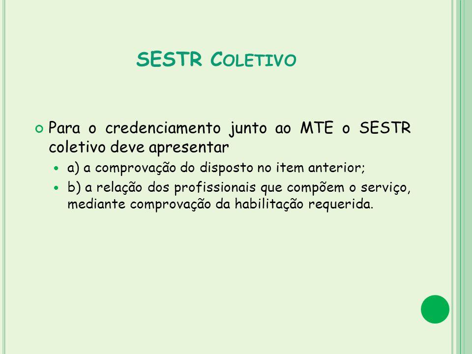 SESTR C OLETIVO Para o credenciamento junto ao MTE o SESTR coletivo deve apresentar a) a comprovação do disposto no item anterior; b) a relação dos pr
