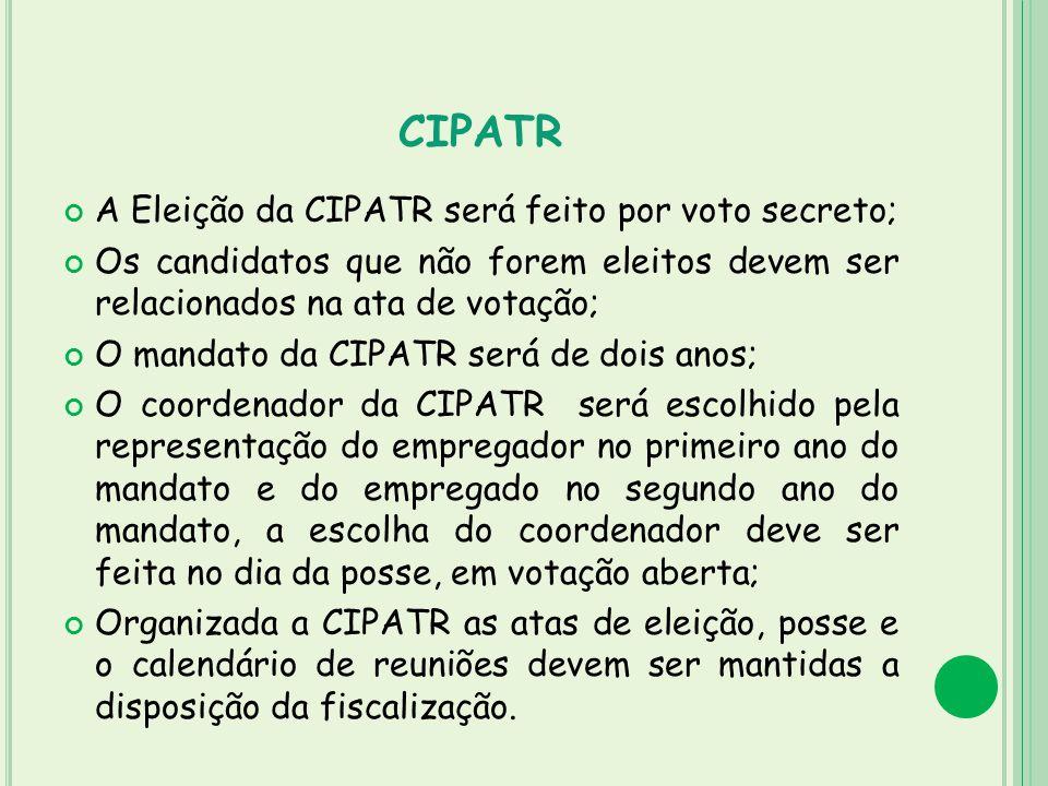 CIPATR A Eleição da CIPATR será feito por voto secreto; Os candidatos que não forem eleitos devem ser relacionados na ata de votação; O mandato da CIP