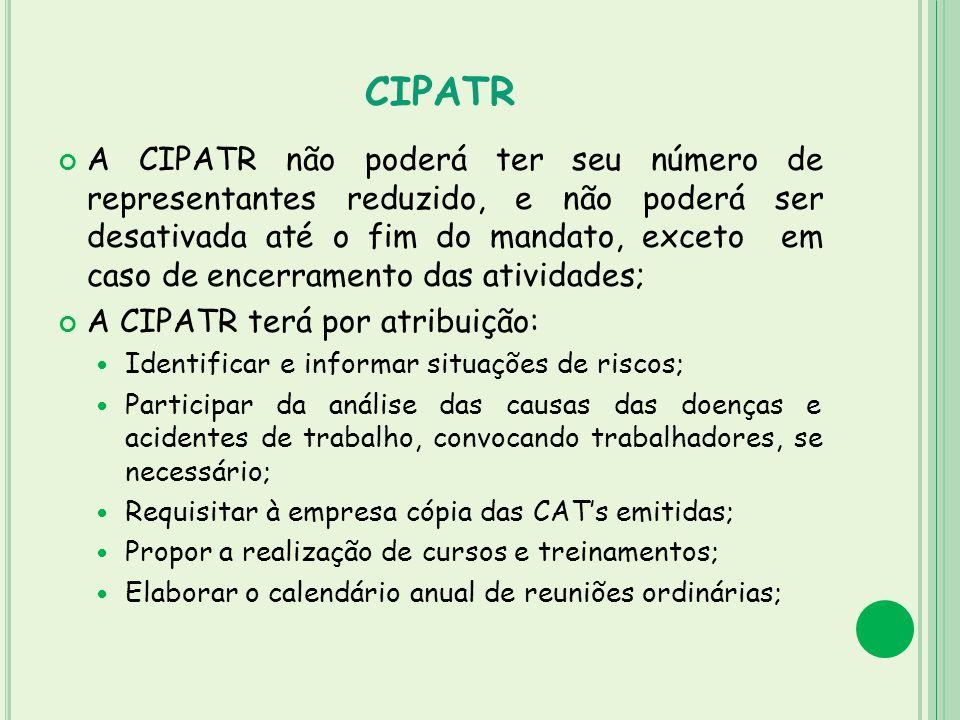 CIPATR A CIPATR não poderá ter seu número de representantes reduzido, e não poderá ser desativada até o fim do mandato, exceto em caso de encerramento