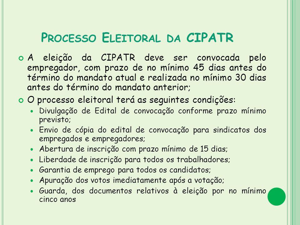 P ROCESSO E LEITORAL DA CIPATR A eleição da CIPATR deve ser convocada pelo empregador, com prazo de no mínimo 45 dias antes do término do mandato atua