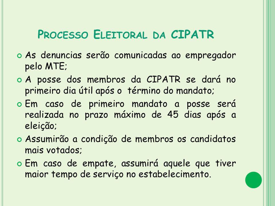 P ROCESSO E LEITORAL DA CIPATR As denuncias serão comunicadas ao empregador pelo MTE; A posse dos membros da CIPATR se dará no primeiro dia útil após