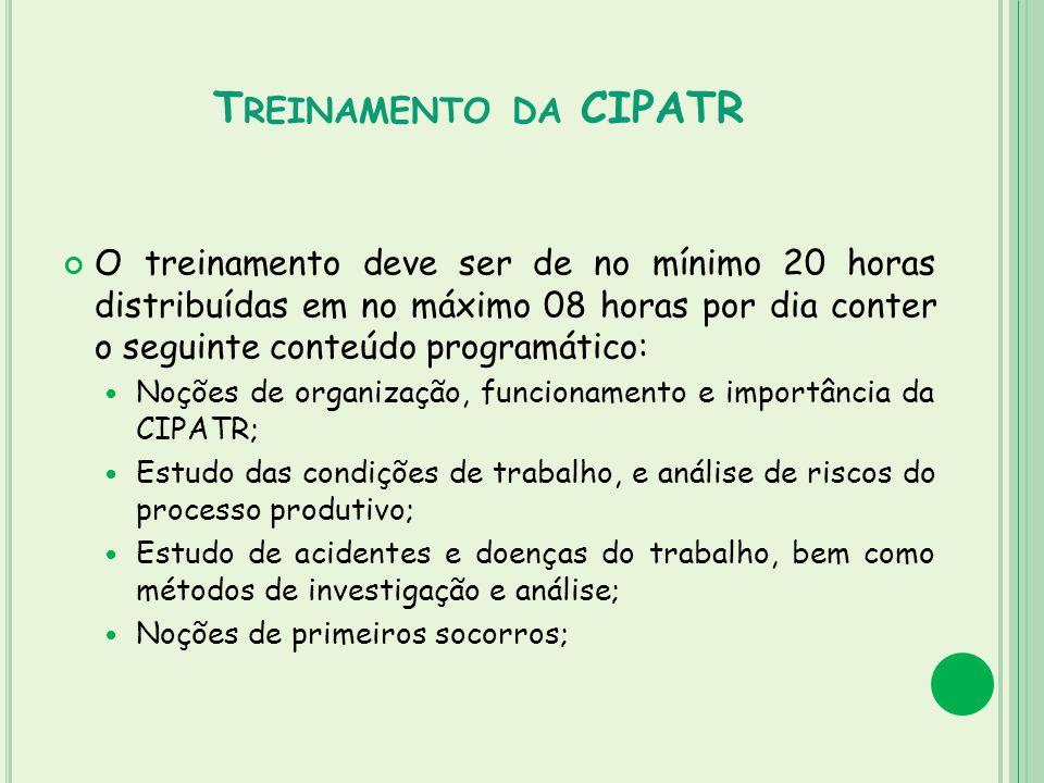 T REINAMENTO DA CIPATR O treinamento deve ser de no mínimo 20 horas distribuídas em no máximo 08 horas por dia conter o seguinte conteúdo programático