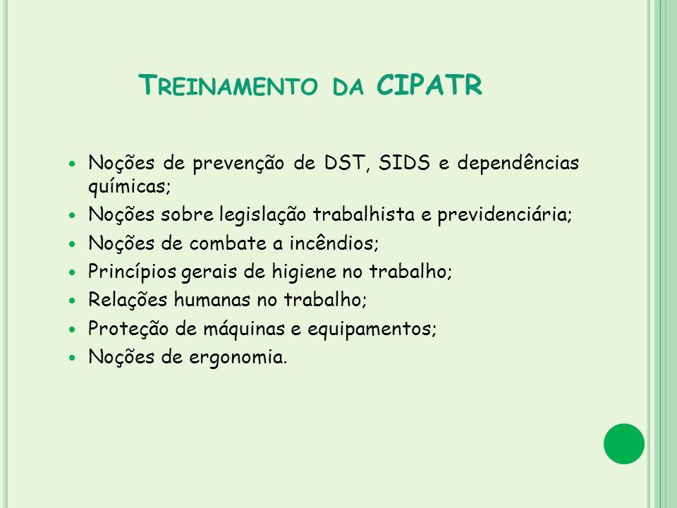 T REINAMENTO DA CIPATR Noções de prevenção de DST, SIDS e dependências químicas; Noções sobre legislação trabalhista e previdenciária; Noções de comba