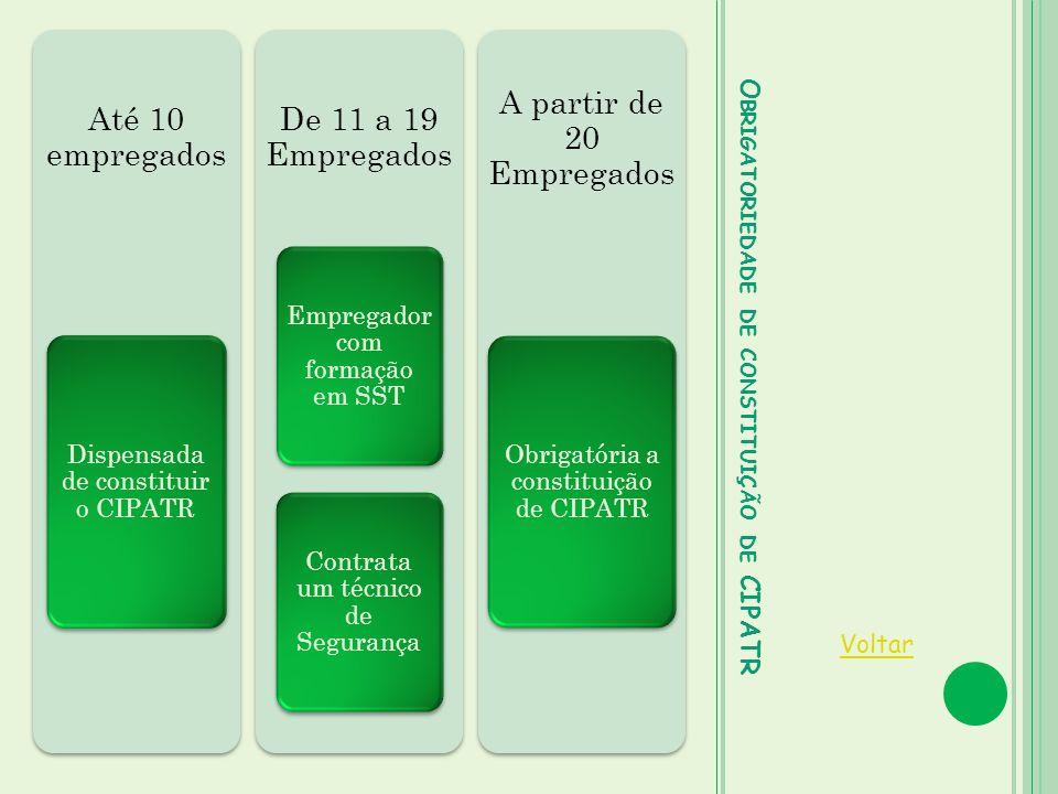 O BRIGATORIEDADE DE CONSTITUIÇÃO DE CIPATR Voltar Até 10 empregados Dispensada de constituir o CIPATR De 11 a 19 Empregados Empregador com formação em