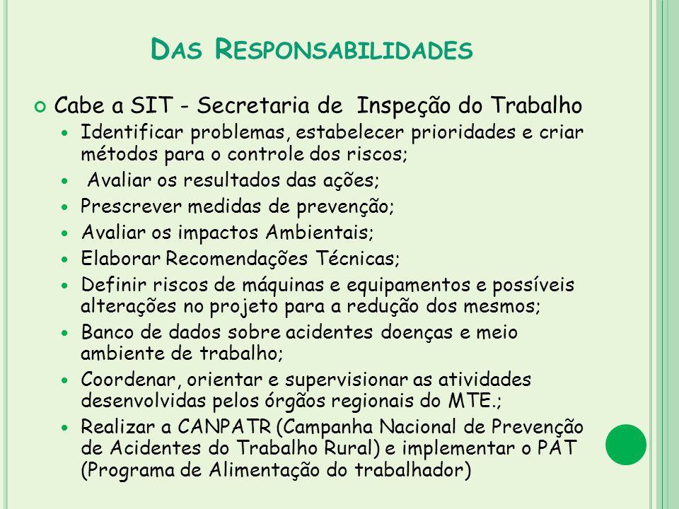 D AS R ESPONSABILIDADES Cabe a SIT - Secretaria de Inspeção do Trabalho Identificar problemas, estabelecer prioridades e criar métodos para o controle