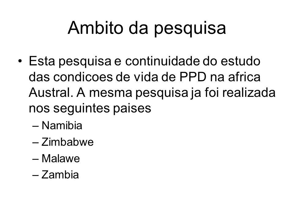 Ambito da pesquisa Esta pesquisa e continuidade do estudo das condicoes de vida de PPD na africa Austral. A mesma pesquisa ja foi realizada nos seguin