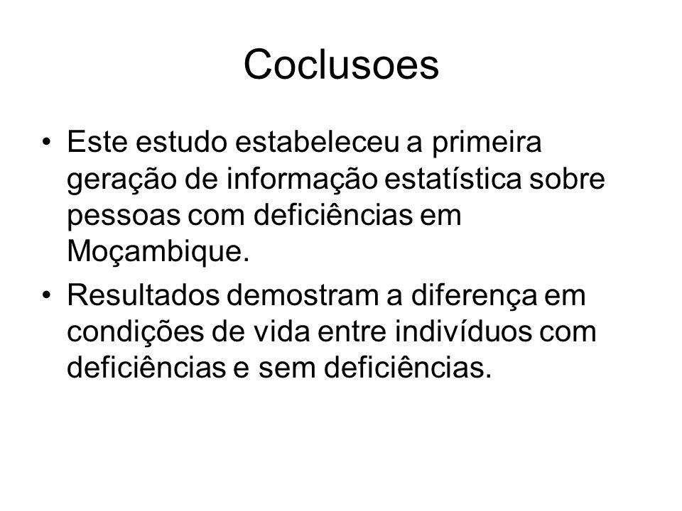 Coclusoes Este estudo estabeleceu a primeira geração de informação estatística sobre pessoas com deficiências em Moçambique.