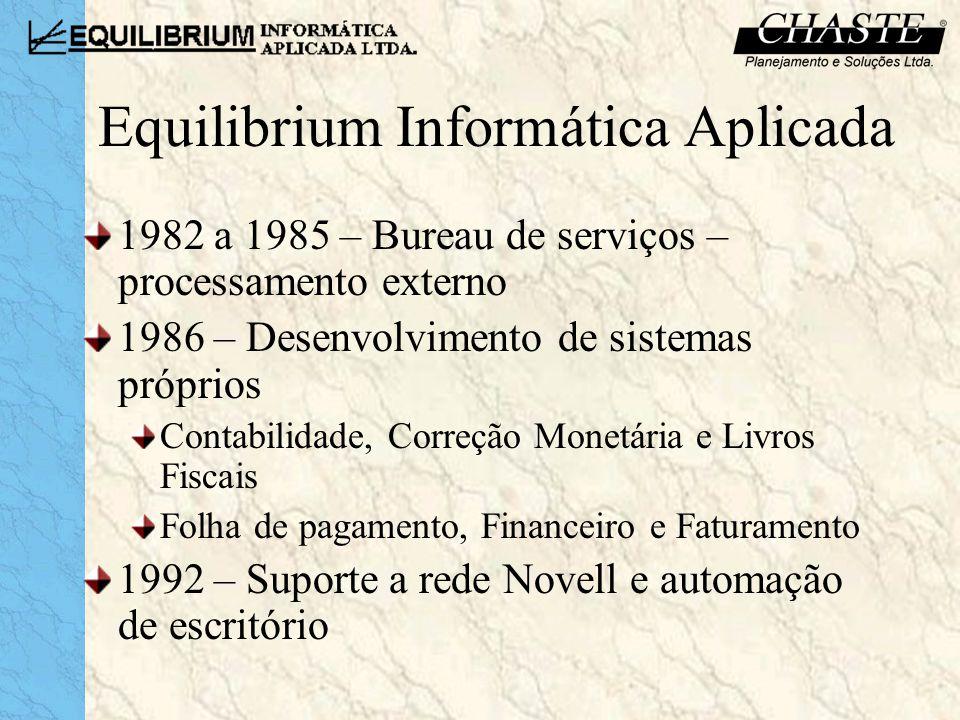Equilibrium Informática Aplicada 1996 – Suporte a toda a estrutura de informática (rede, servidores e aplicativos) 1999 – Instalação de redes com servidores Linux para dados e internet 2001 – Extração de informações gerenciais a partir da base de dados do cliente 2003 – Instalação e implantação de sistemas ERP