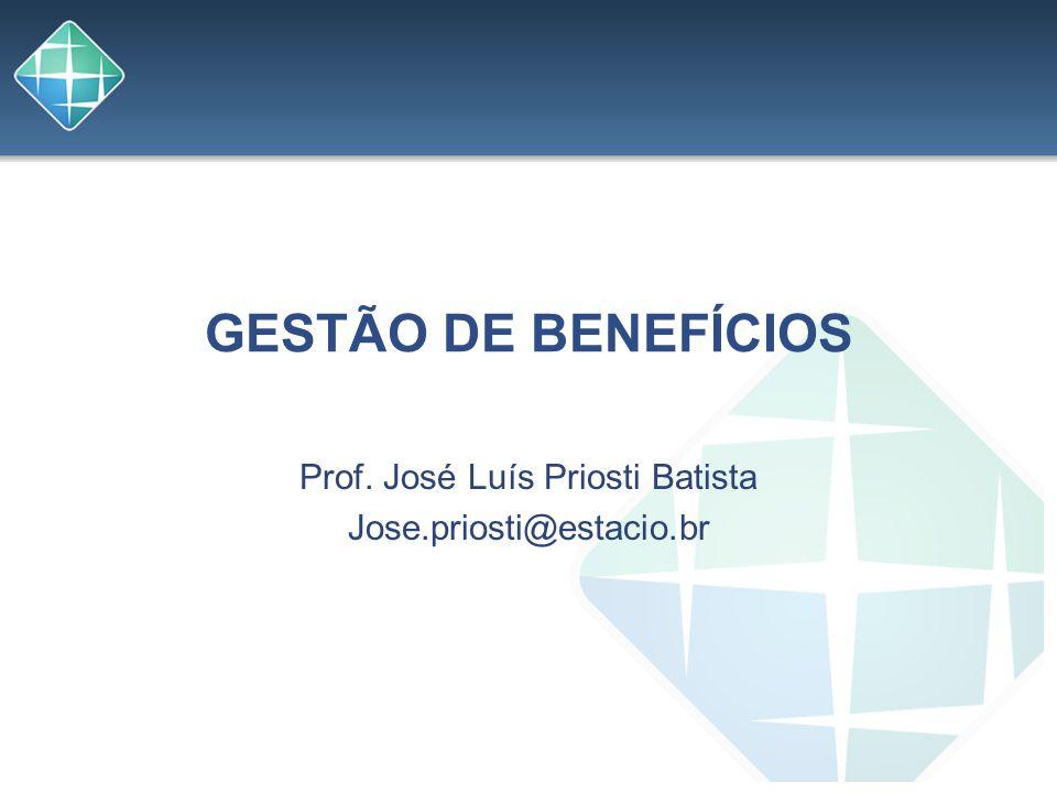 GESTÃO DE BENEFÍCIOS Prof. José Luís Priosti Batista Jose.priosti@estacio.br