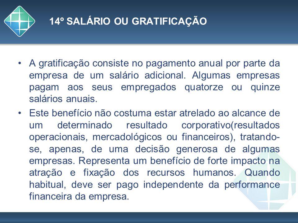 14º SALÁRIO OU GRATIFICAÇÃO A gratificação consiste no pagamento anual por parte da empresa de um salário adicional. Algumas empresas pagam aos seus e