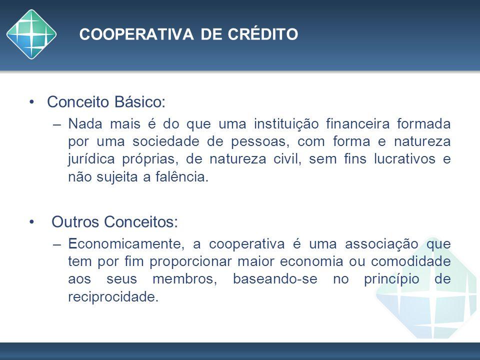 COOPERATIVA DE CRÉDITO Conceito Básico: –Nada mais é do que uma instituição financeira formada por uma sociedade de pessoas, com forma e natureza jurí
