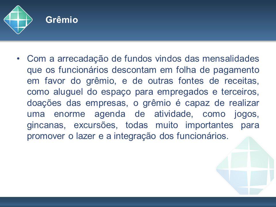 Grêmio Com a arrecadação de fundos vindos das mensalidades que os funcionários descontam em folha de pagamento em favor do grêmio, e de outras fontes