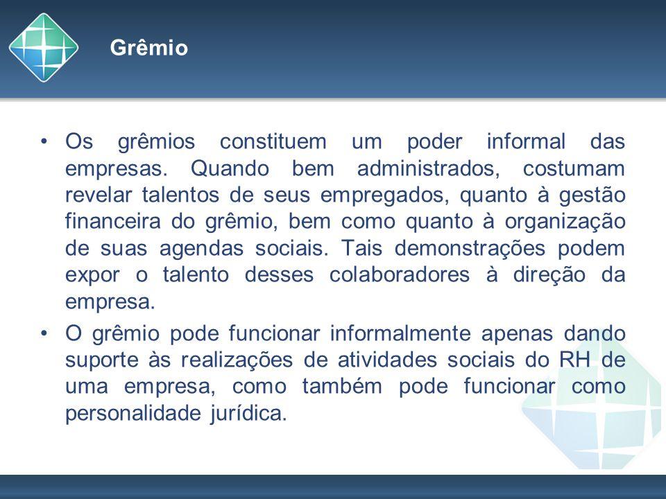 Grêmio Os grêmios constituem um poder informal das empresas. Quando bem administrados, costumam revelar talentos de seus empregados, quanto à gestão f