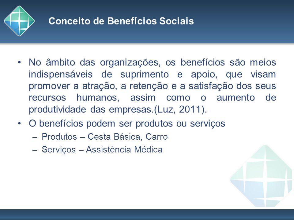 Conceito de Benefícios Sociais No âmbito das organizações, os benefícios são meios indispensáveis de suprimento e apoio, que visam promover a atração,
