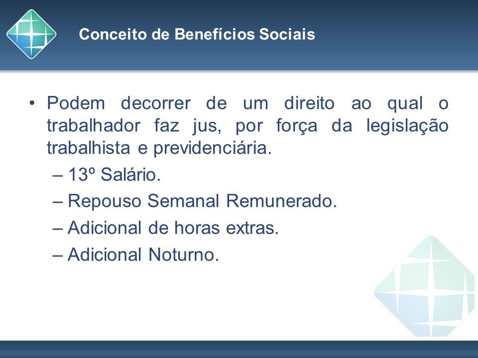 Conceito de Benefícios Sociais Podem decorrer de um direito ao qual o trabalhador faz jus, por força da legislação trabalhista e previdenciária. –13º