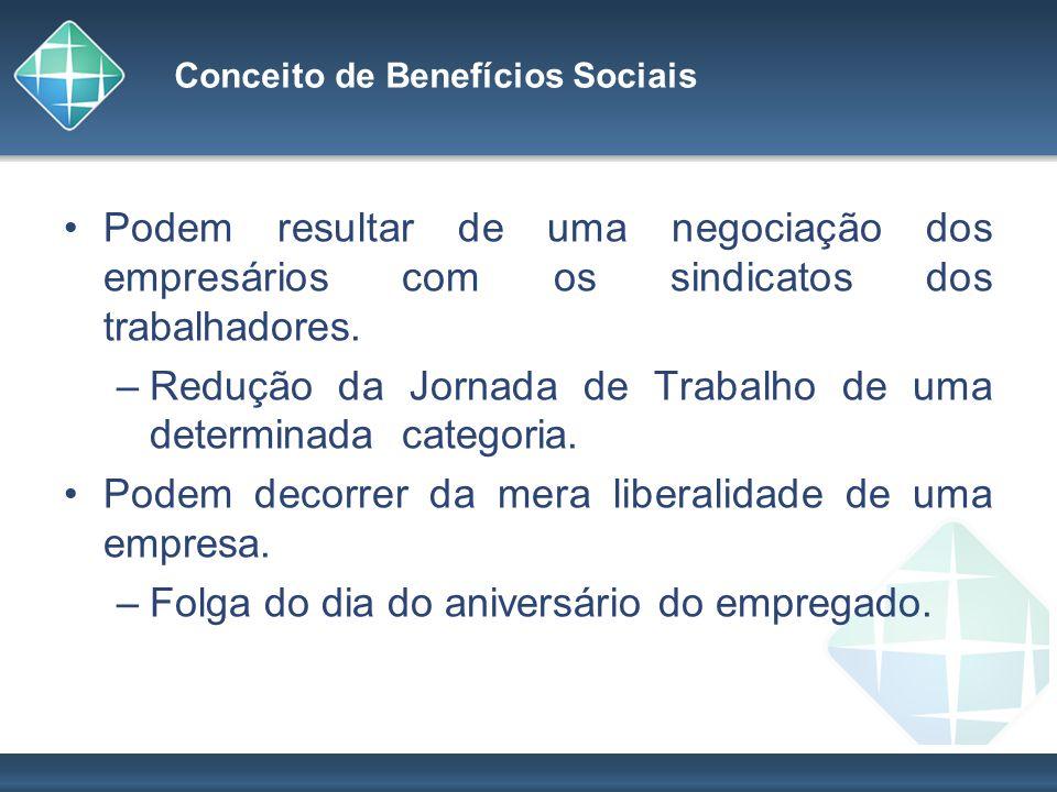 Conceito de Benefícios Sociais Podem resultar de uma negociação dos empresários com os sindicatos dos trabalhadores. –Redução da Jornada de Trabalho d