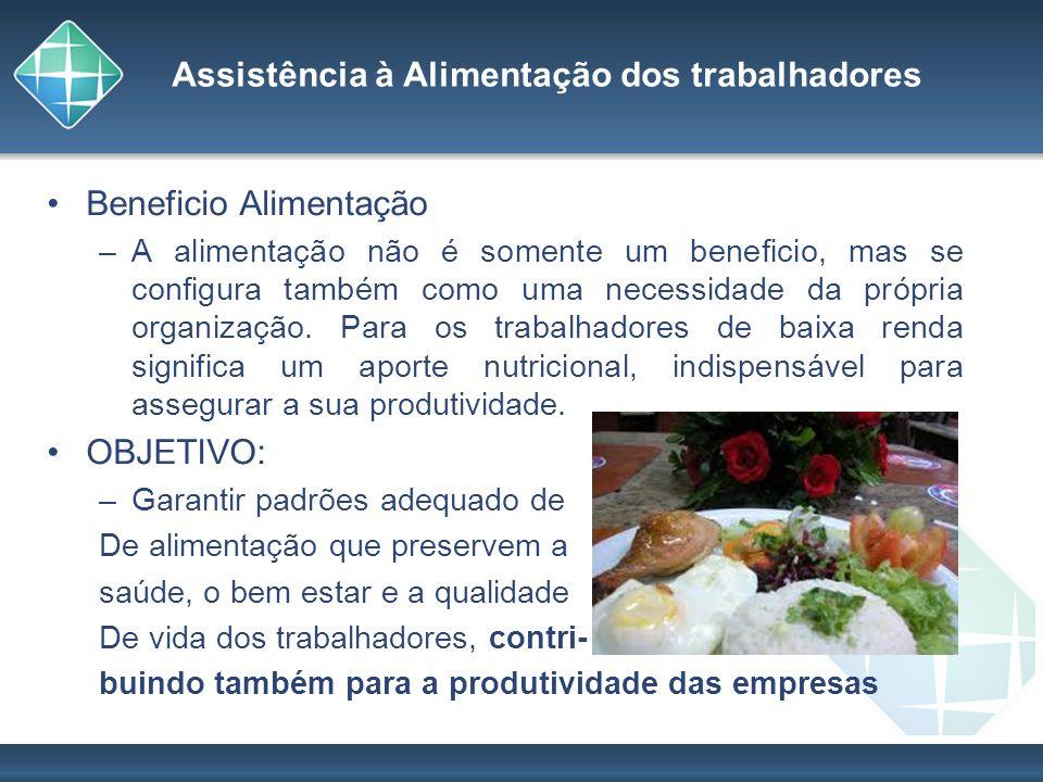 Assistência à Alimentação dos trabalhadores Beneficio Alimentação –A alimentação não é somente um beneficio, mas se configura também como uma necessid