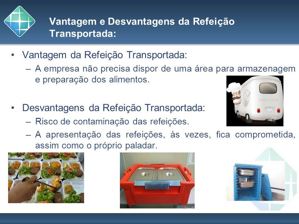 Vantagem e Desvantagens da Refeição Transportada: Vantagem da Refeição Transportada: –A empresa não precisa dispor de uma área para armazenagem e prep
