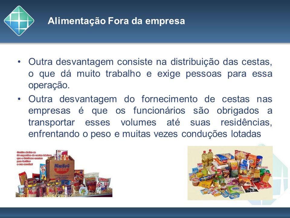 Alimentação Fora da empresa Outra desvantagem consiste na distribuição das cestas, o que dá muito trabalho e exige pessoas para essa operação. Outra d