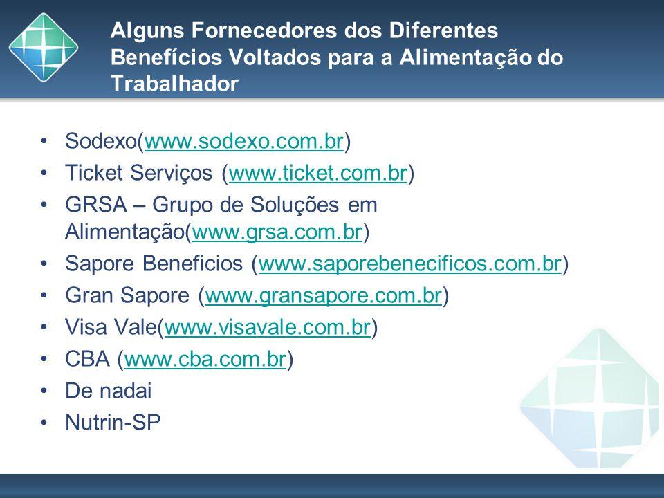 Alguns Fornecedores dos Diferentes Benefícios Voltados para a Alimentação do Trabalhador Sodexo(www.sodexo.com.br)www.sodexo.com.br Ticket Serviços (w