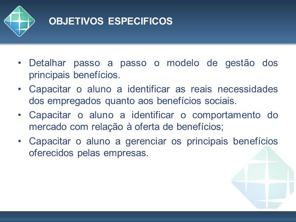 OBJETIVOS ESPECIFICOS Detalhar passo a passo o modelo de gestão dos principais benefícios. Capacitar o aluno a identificar as reais necessidades dos e