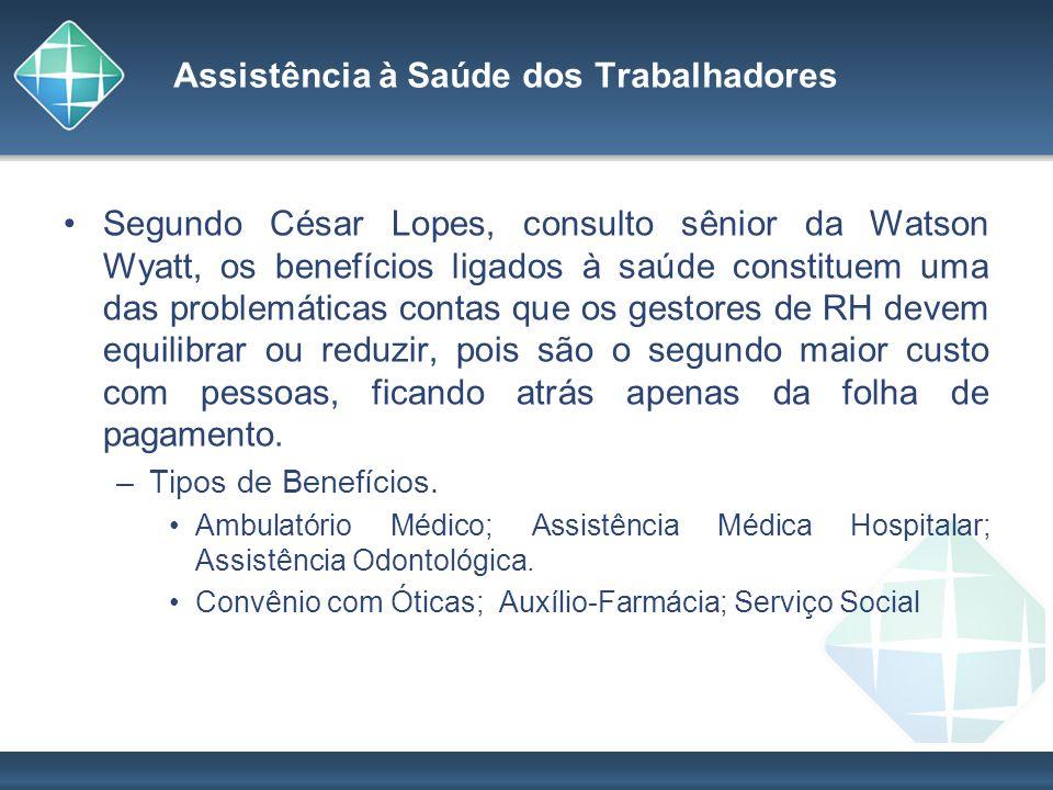 Assistência à Saúde dos Trabalhadores Segundo César Lopes, consulto sênior da Watson Wyatt, os benefícios ligados à saúde constituem uma das problemát